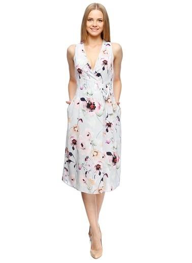 Beymen Studio Kolsuz V Yaka Çiçek Desenli Midi Elbise Gri